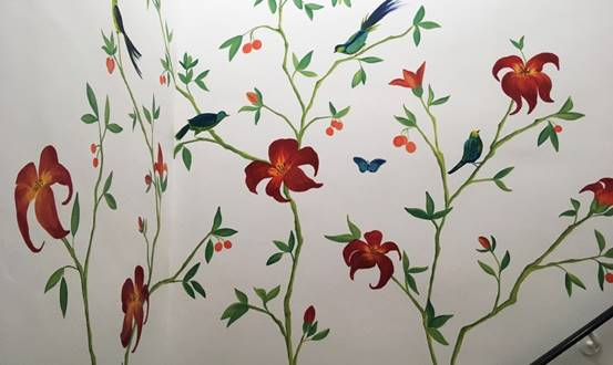 Tropical Chinoiserie Staircase Wall Mural