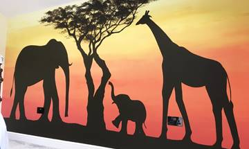 Jungle Animal Sunset Mural