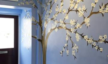 White Blossom Tree Wall Mural
