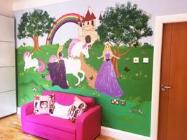 Fairy Princess Unicorn Castle Wall Mural.jpg