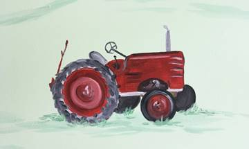 Farm Animal Field Tractor Mural