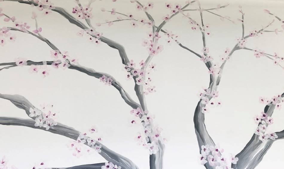 Close Up Blossom Tree Mural