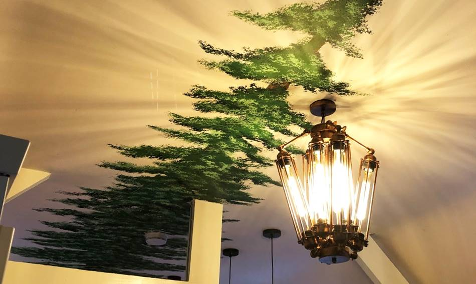 Redwood Ceiling Tree Mural