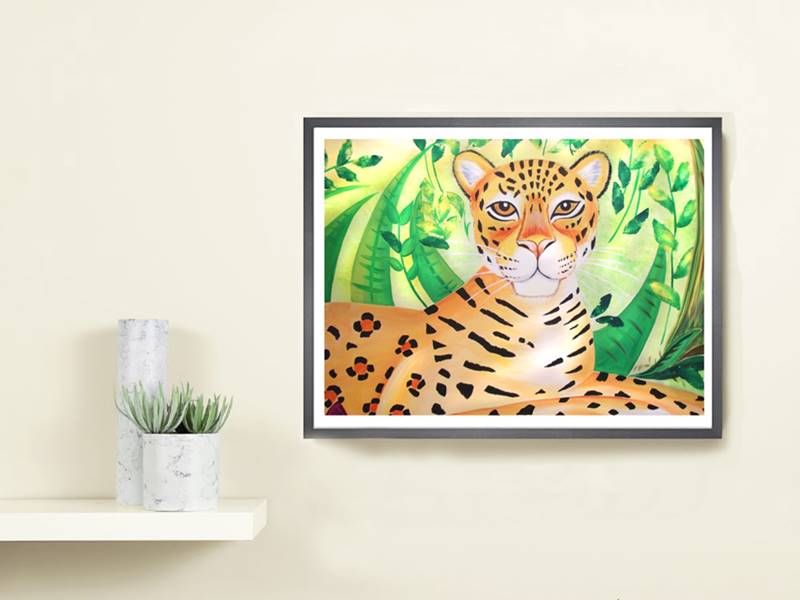 A3 Leopard Frame On Wall