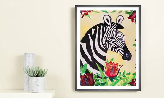 Tropical Zebra Giclée Print Large